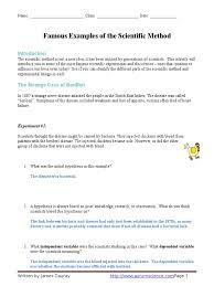126256417 famous examples of the scientific method worksheet
