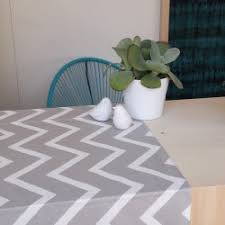 Grey Chevron Table Runner Wipeable Table Runner At 22 00 U20ac Fleur De Soleil