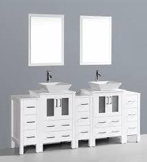 contemporary 84 inch white vessel sink bathroom vanity set with mirror