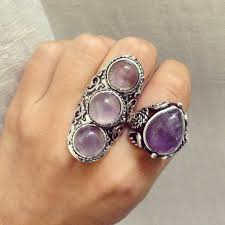 natural amethyst rings images Adjustable 3 amethyst stones ring long vintage silver ring jpg