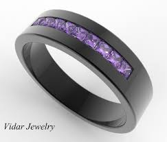 black mens wedding ring striking men s pave set amethyst wedding band custom rings