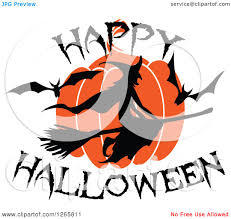 clipart of a happy halloween trick or treat bat witch and pumpkin