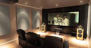 awesome small home theatre with cozy yellow seating idea