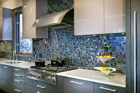 Kitchen Backsplash Mosaic Tiles - Blue glass tile backsplash