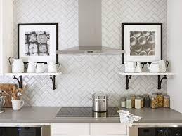 Subway Tile Ideas Kitchen by White Subway Tiles With Offset Pattern Cabinet Backsplash Kitchen