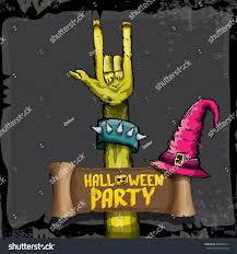 zombie halloween invitations halloween background rock n roll zombie stock vector 490023913