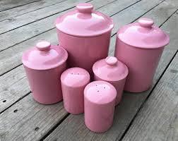 pink kitchen canister set pink kitchen etsy