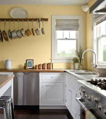 elegant kitchen paint colors ideas with yellow wall design and