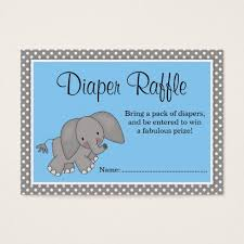 raffle baby shower blue elephant baby shower raffle business card