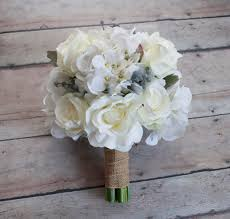 hydrangea wedding bouquet white and hydrangea wedding bouquet with silver brunia and