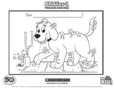 clifford coloring pages clifford the big red dog fabric by redtractordesigns on etsy