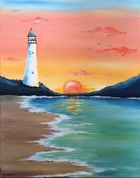 lighthouse sunset painting for beginner