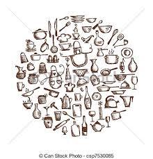 dessins de cuisine croquis ustensiles ton conception dessin cuisine clipart