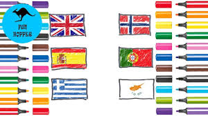easy flags europe part 3 simple drawing and coloring drawing