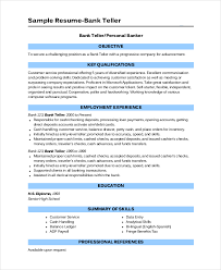 Resume Template For Cashier Bank Teller Resume Template 5 Free Word Excel Pdf Documents