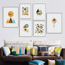 modern art print poster abstract geometric shape bird mountain