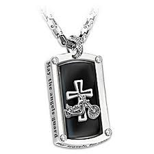 engraved dog tag necklace dog tag pendant necklace bikers blessing