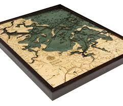 Boston Harbor Map by Boston Harbor Massachusetts 3 D Nautical Wood Chart Large 24 5