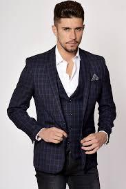 blue suit check three piece suit marc darcy designer