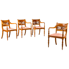 set of four regency period elbow chairs regency teak and room