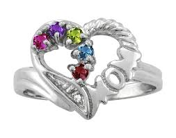 white gold mothers ring heart personalized family ring in white gold