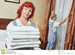 House Keeping by Hotel Staff At Room Cleaning And Housekeeping Stock Photo Image