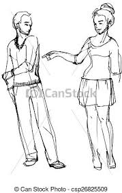 vector clipart of vector sketch of a woman pointing at a man