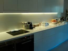small white kitchen decoration using white led light under kitchen