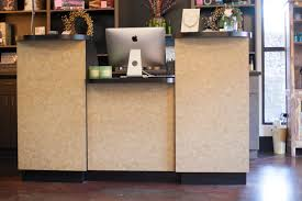 Double Reception Desk by City Salon And Spa Makeover Athens Ga Reclaimed Wood Farm