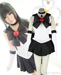 Sailor Moon Halloween Costume Anime Sailor Moon Sailor Pluto Cosplay Costume Black Uniform Dress