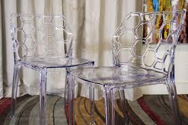 baxton studio honeycomb acrylic modern dining chair set of 2