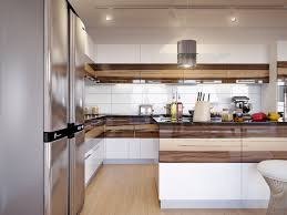 Horizontal Kitchen Cabinets Walnut Cabinets White Gloss Kitchen Interior Design Ideas