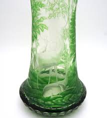 Cut Crystal Vases Antique Bohemian Green Overlay Intaglio Cut Vase With Stags And Forest