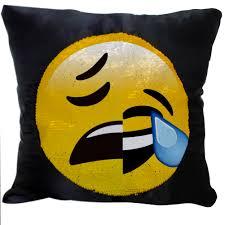 Furniture Emoji Magic Emoji Reversible Sequins Cushion Glitter Cover Throw Pillow