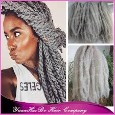 grey marley braiding hair stock 20 fold silver gray synthetic hair cheap kinky twists grey