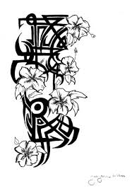 hawaiian tribal flower tattoo drawing coloring pages clip art