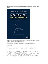 solutions manual theory and design for mechanical measurements