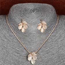 cat eye pendant necklace images Zoshi natural opal flower pendant necklace earrings for women gold jpg