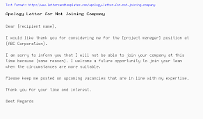 Regret Letter Unable To Join letter for not joining company