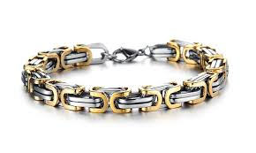 silver gold bracelet images Mens silver gold black chunky titanium steel byzantine link chain brac jpeg