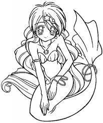 the most elegant along with lovely anime mermaid coloring pages