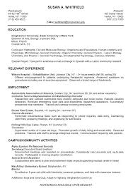 college resume format for high students college student