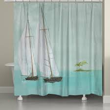 Tropical Beach Shower Curtains by Tropical Sailboats Shower Curtain Tropical Sailboats By Fabrice