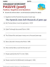 english grammar worksheet passive past positives negatives