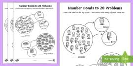 mixed number bonds to 20 on robots activity sheet number