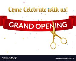 grand opening ribbon grand opening design template with ribbon and vector image