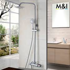 popular thermostatic bath tap buy cheap thermostatic bath tap lots bathroom contemporary thermostatic rainfall shower head bathroom bath shower mixer taps shower faucet tap shower set
