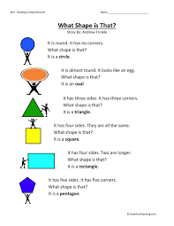 comprehension worksheet what shape is that