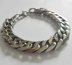 silver chain bracelet men images Silver high quality stainless steel huge heavy cuban curb link jpg