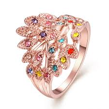 jewelry large rings images Rose gold peacock ring female animals large rings for women bridal jpg
